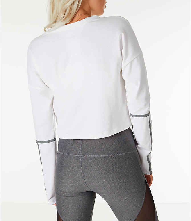 Back Right view of Women's Under Armour Long-Sleeve Cropped Crew Shirt in White