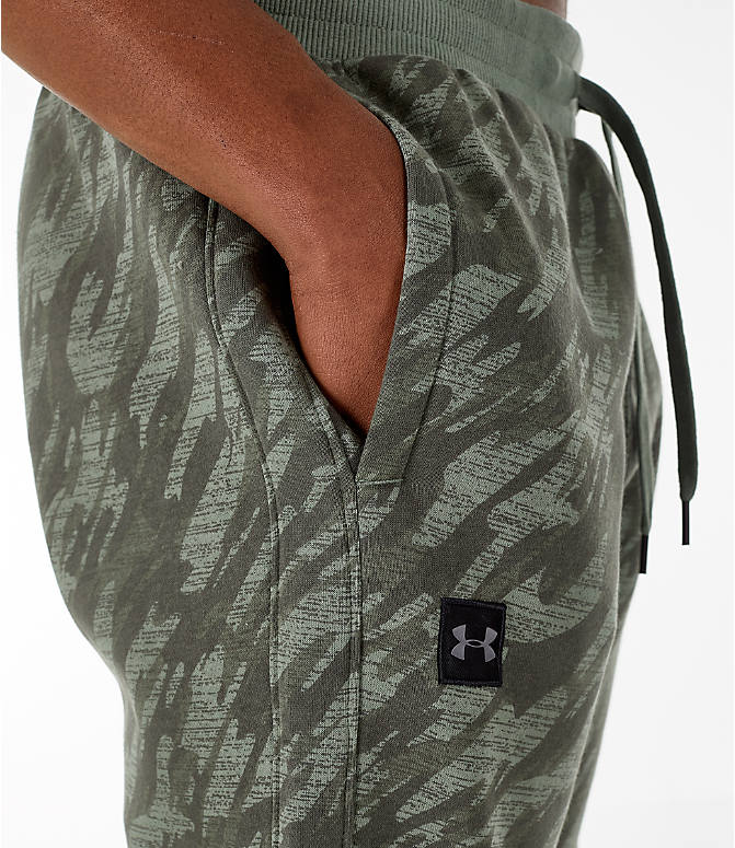 Detail 1 view of Men's Under Armour Rival Fleece Camo Jogger Pants in Moss Green