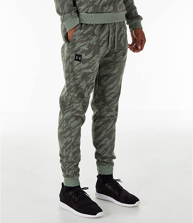 Front view of Men's Under Armour Rival Fleece Camo Jogger Pants in Moss Green
