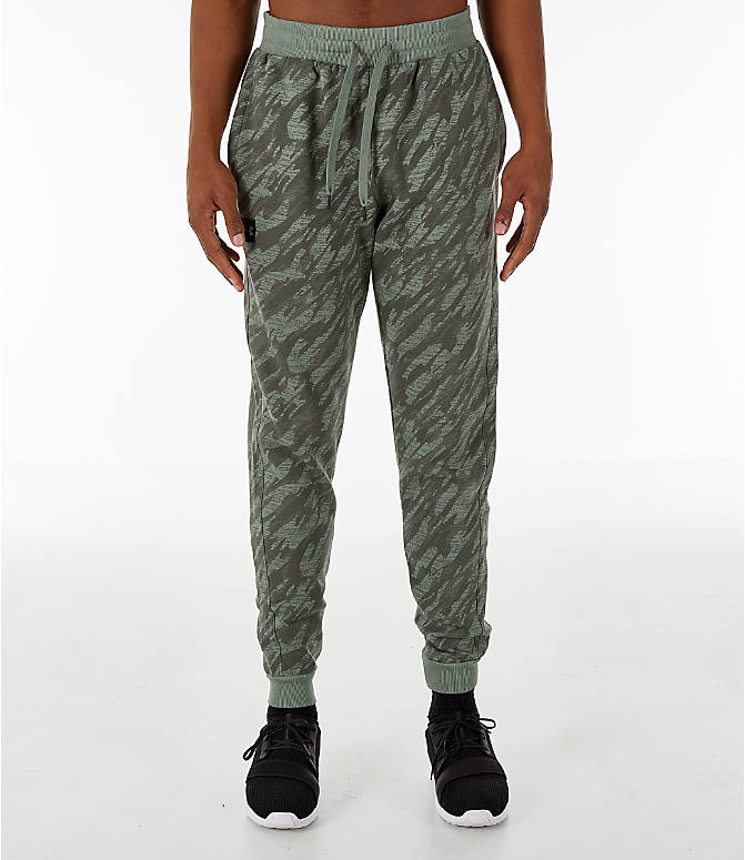 Front Three Quarter view of Men's Under Armour Rival Fleece Camo Jogger Pants in Moss Green