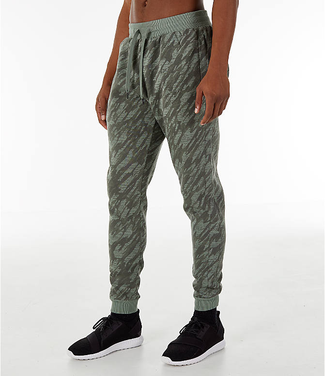 Back Left view of Men's Under Armour Rival Fleece Camo Jogger Pants in Moss Green