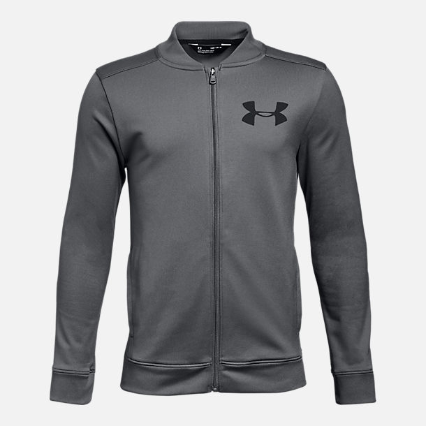 Front view of Boys' Under Armour Pennant Jacket in Grey/Black