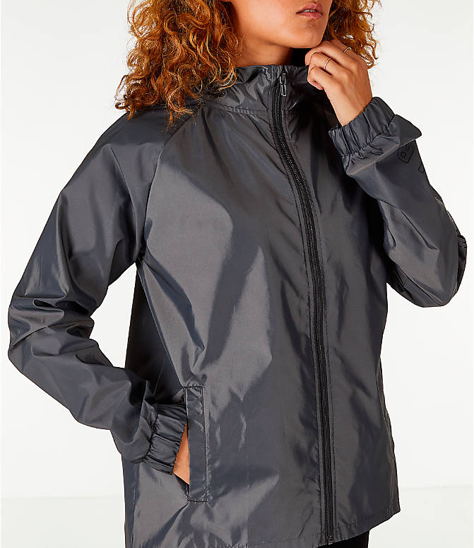 Detail 2 view of Women's Under Armour Iridescent Woven Hooded Wind Jacket in Grey