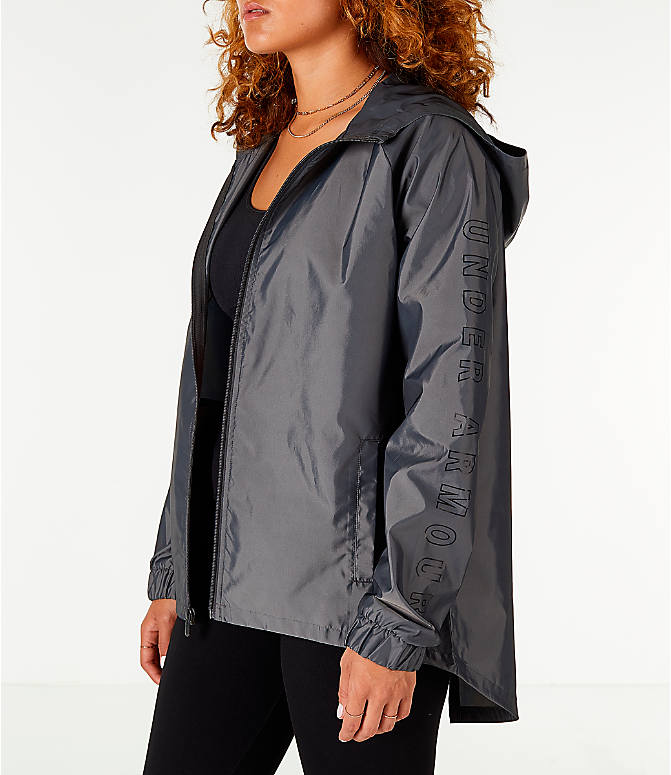 Front Three Quarter view of Women's Under Armour Iridescent Woven Hooded Wind Jacket in Grey