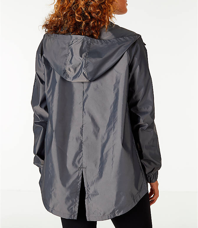 Back Right view of Women's Under Armour Iridescent Woven Hooded Wind Jacket in Grey