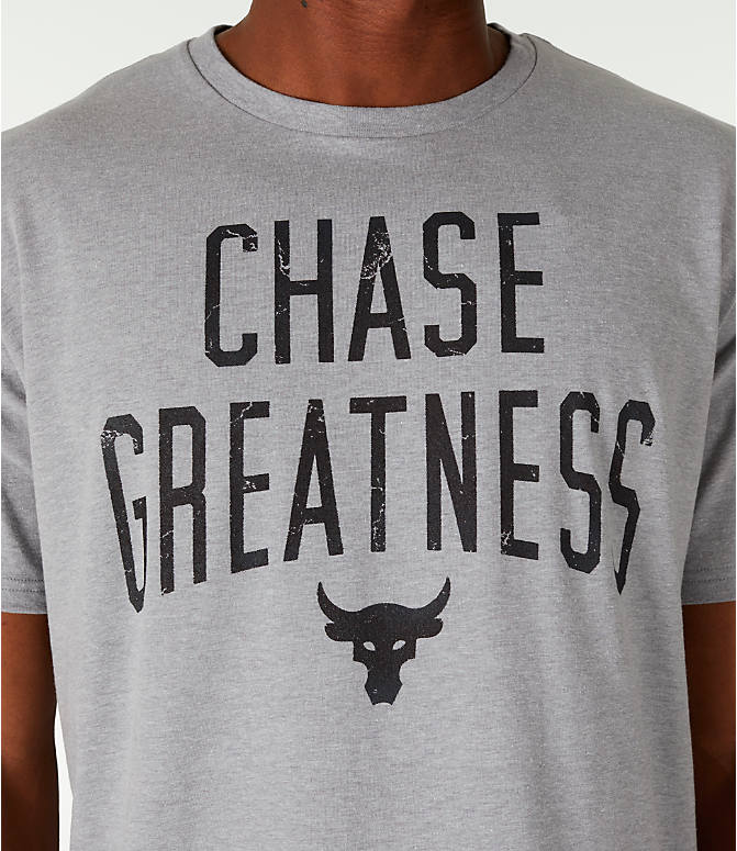Detail 1 view of Men's Under Armour x Project Rock Chase Greatness T-Shirt in Steel/Black