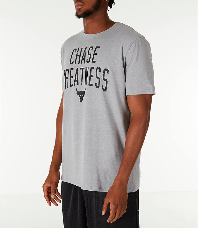 Front Three Quarter view of Men's Under Armour x Project Rock Chase Greatness T-Shirt in Steel/Black