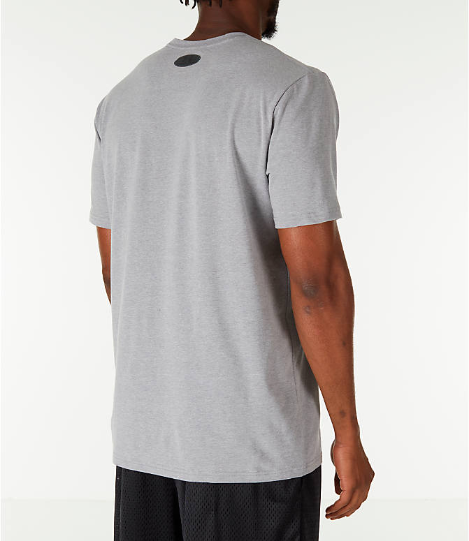 Back Right view of Men's Under Armour x Project Rock Chase Greatness T-Shirt in Steel/Black