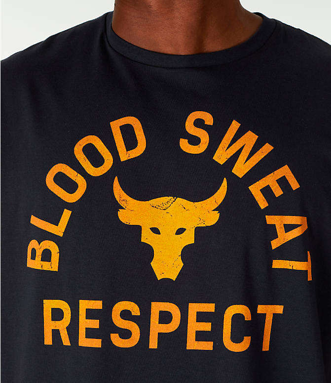 Detail 1 view of Men's Under Armour x Project Rock Blood Sweat Respect T-Shirt in Black/Gold