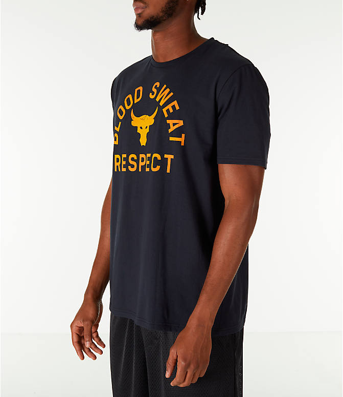 Front Three Quarter view of Men's Under Armour x Project Rock Blood Sweat Respect T-Shirt in Black/Gold