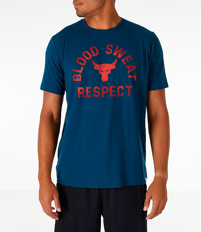 Front view of Men's Under Armour x Project Rock Blood Sweat Respect T-Shirt in True Ink