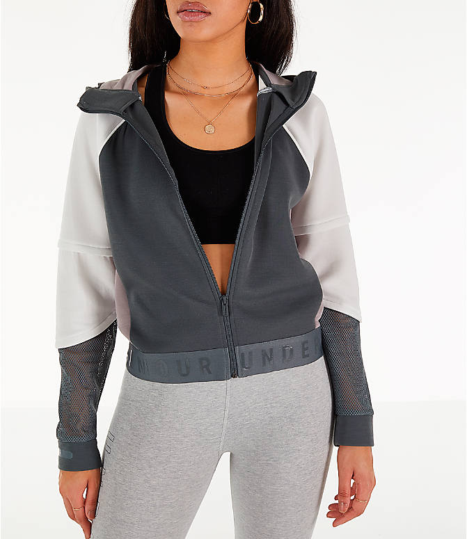 Front view of Women's Under Armour Move Light Full-Zip Training Hoodie in Pitch Grey/Onyx White/Tetra Grey