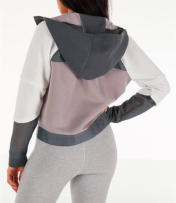 Back Left view of Women's Under Armour Move Light Full-Zip Training Hoodie in Pitch Grey/Onyx White/Tetra Grey