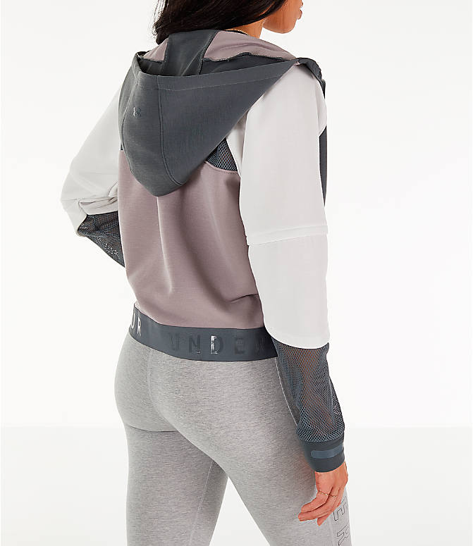 Back Right view of Women's Under Armour Move Light Full-Zip Training Hoodie in Pitch Grey/Onyx White/Tetra Grey