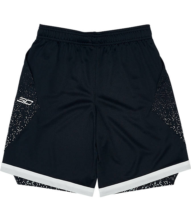 Back view of Boys' Under Armour SC30 Basketball Shorts in Black/White