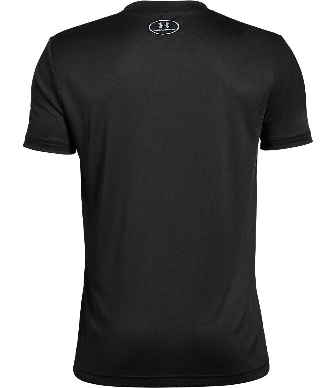 Back view of Boys' Under Armour SC30 Zero Shots Missed T-Shirt in Black/Orange Glitch