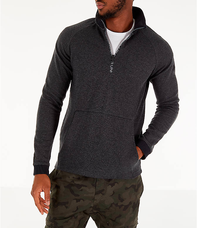 Front view of Men's Under Armour Unstoppable Double Knit Half-Zip Training Shirt in Black