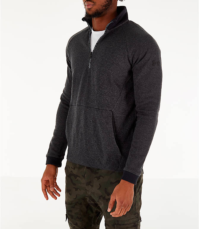 Front Three Quarter view of Men's Under Armour Unstoppable Double Knit Half-Zip Training Shirt in Black