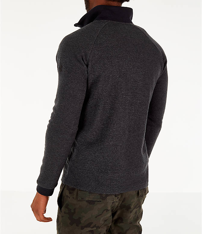 Back Left view of Men's Under Armour Unstoppable Double Knit Half-Zip Training Shirt in Black