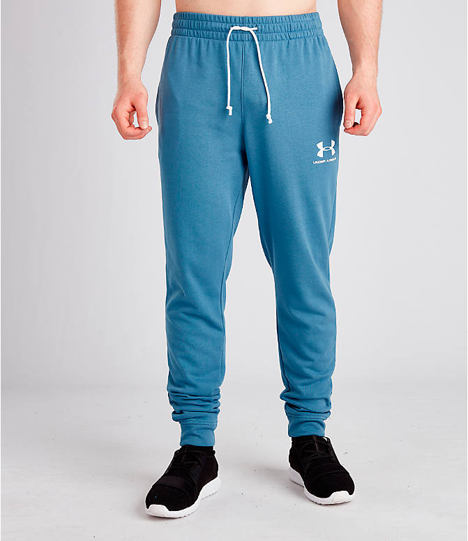 Front Three Quarter view of Men's Under Armour Sportstyle Terry Jogger Pants in Thunder