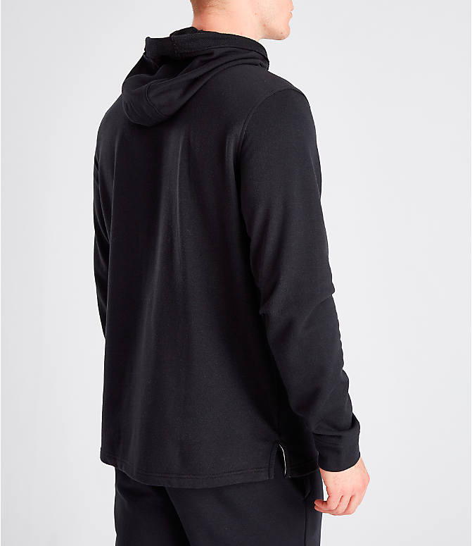 Back Right view of Men's Under Armour Sportstyle Terry Hoodie in Black