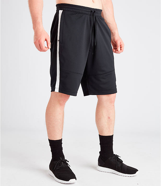 Front Three Quarter view of Men's Under Armour Sportstyle Pique Shorts in Black