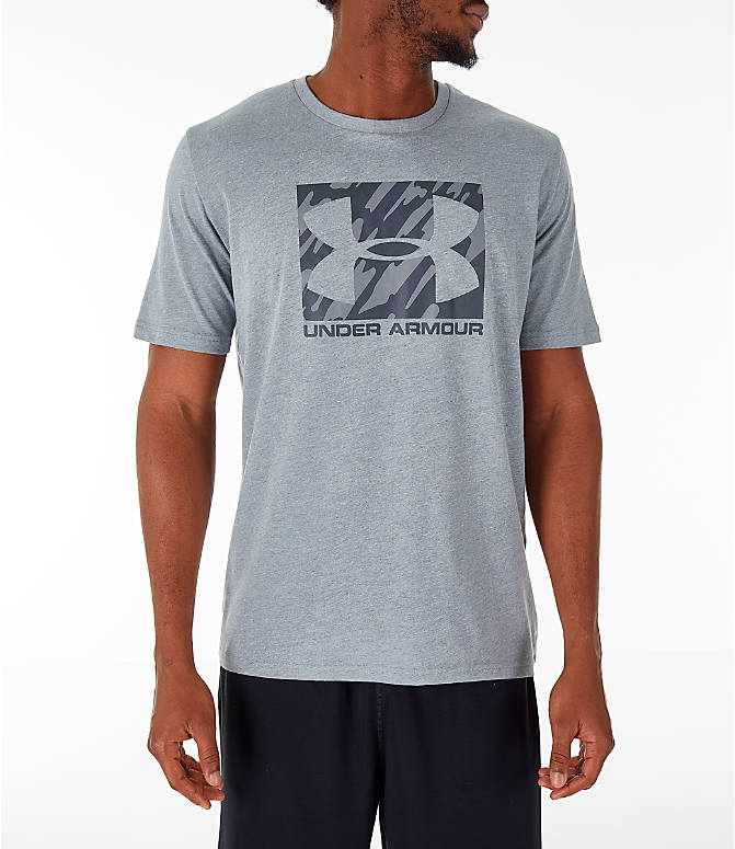 Front view of Men's Under Armour Sportstyle Boxed T-Shirt in Steel/Anthracite
