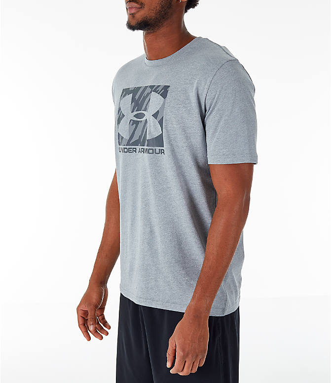 Front Three Quarter view of Men's Under Armour Sportstyle Boxed T-Shirt in Steel/Anthracite