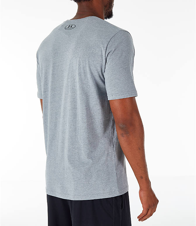 Back Right view of Men's Under Armour Sportstyle Boxed T-Shirt in Steel/Anthracite