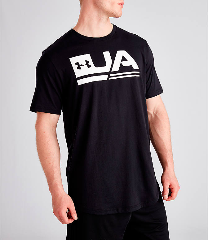 Detail 2 view of Men's Under Armour Sportstyle Drop Hem T-Shirt in Black