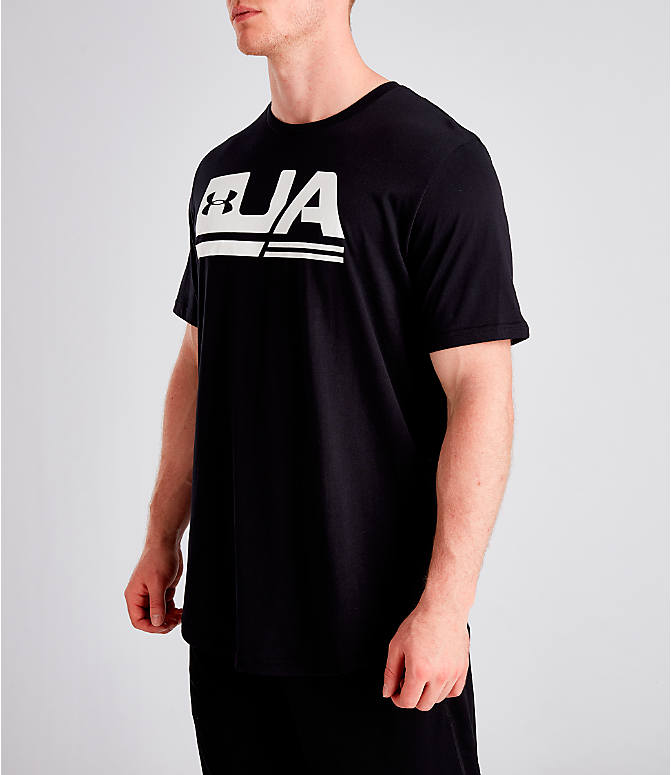 Front Three Quarter view of Men's Under Armour Sportstyle Drop Hem T-Shirt in Black