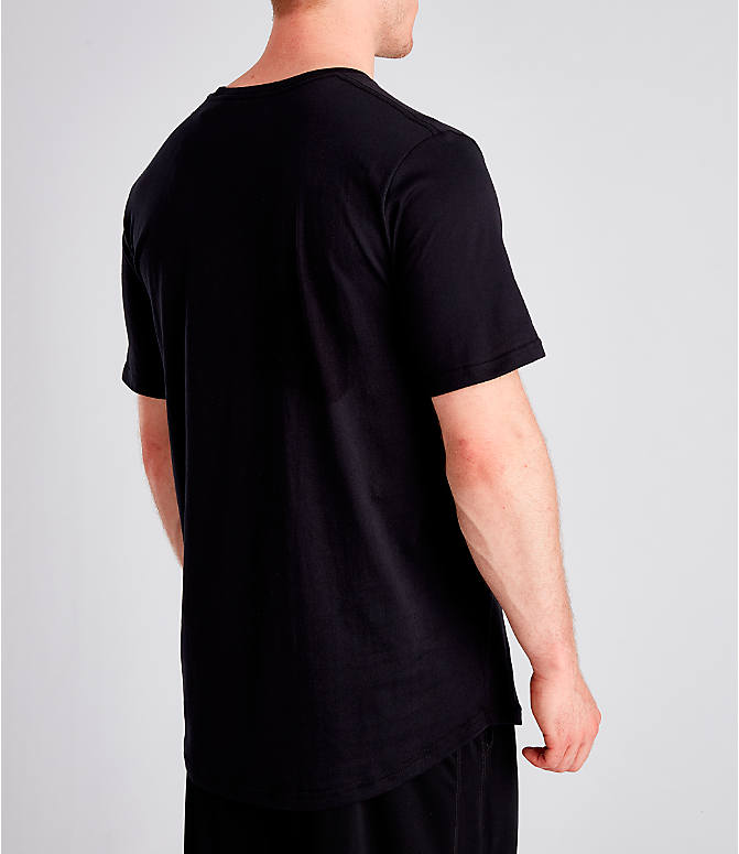Back Right view of Men's Under Armour Sportstyle Drop Hem T-Shirt in Black