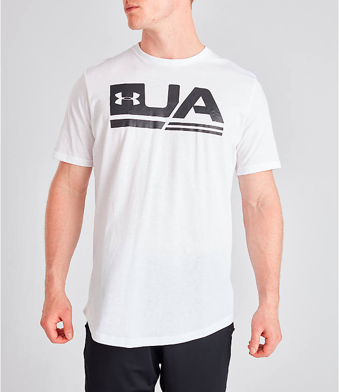 Front view of Men's Under Armour Sportstyle Drop Hem T-Shirt in White