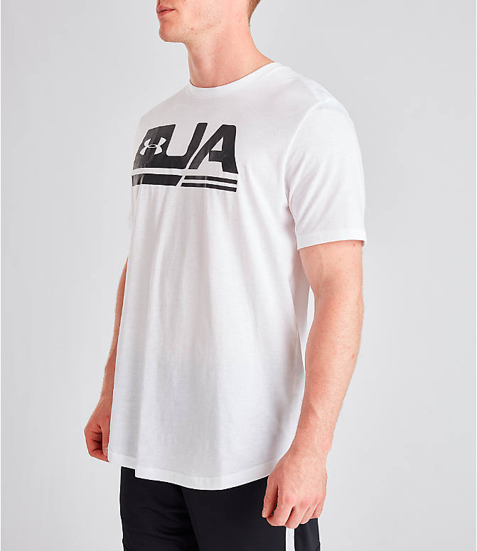 Front Three Quarter view of Men's Under Armour Sportstyle Drop Hem T-Shirt in White