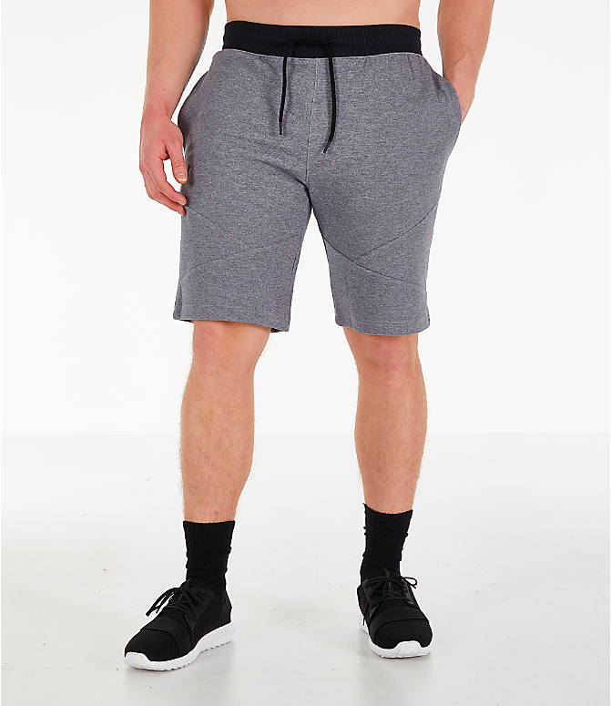 Front Three Quarter view of Men's Under Armour Unstoppable Double Knit Shorts in Steel
