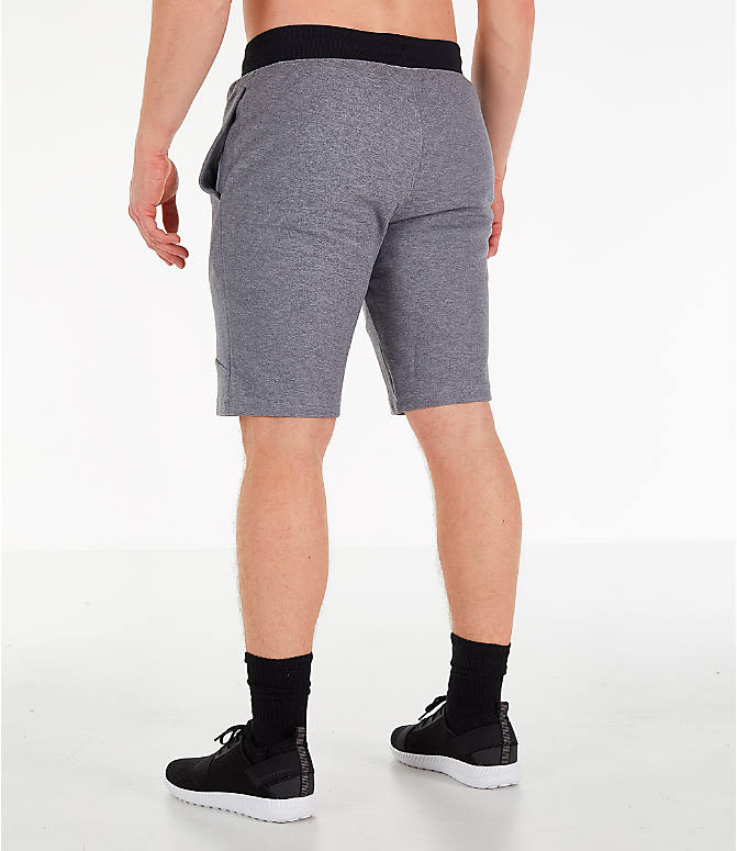 Back Left view of Men's Under Armour Unstoppable Double Knit Shorts in Steel
