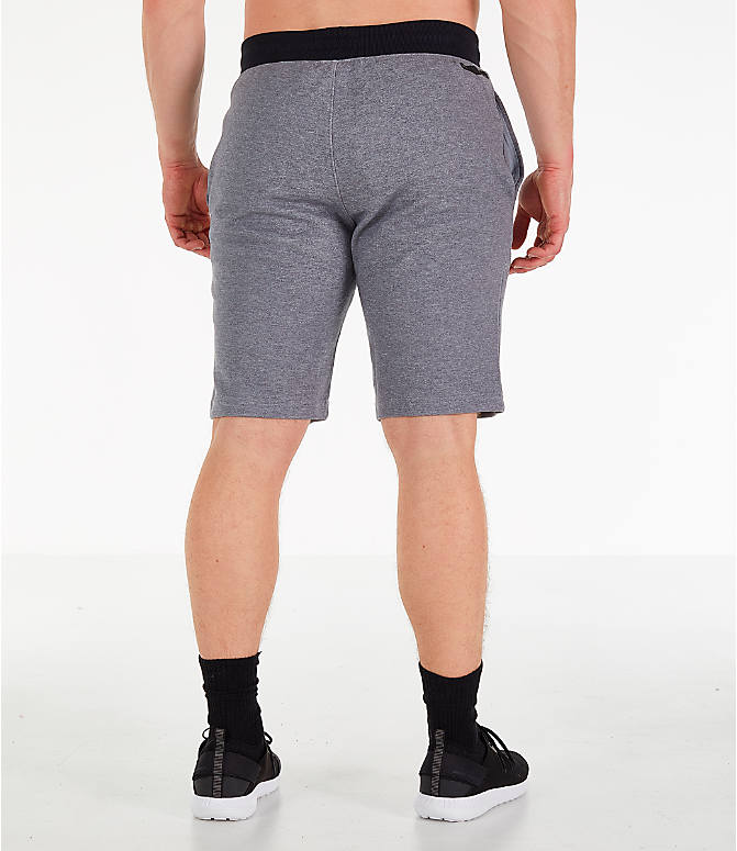 Back Right view of Men's Under Armour Unstoppable Double Knit Shorts in Steel