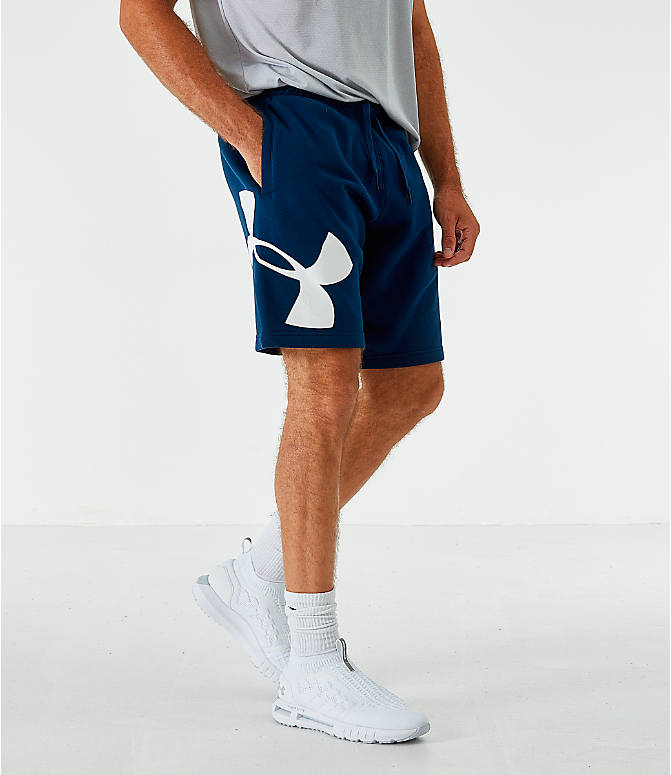 Front view of Men's Under Armour Rival Fleece Logo Shorts in Acedemy/White