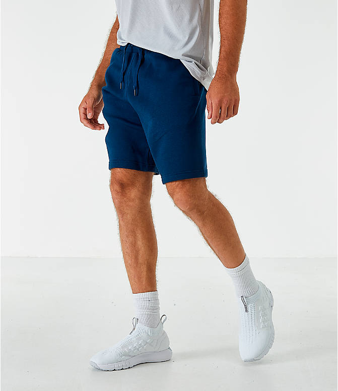 Back Left view of Men's Under Armour Rival Fleece Logo Shorts in Acedemy/White