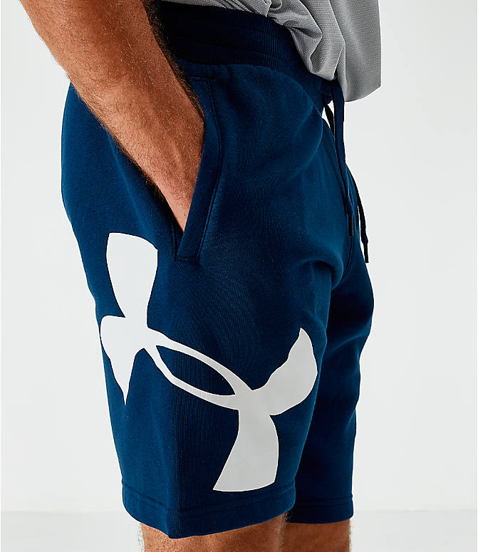 On Model 5 view of Men's Under Armour Rival Fleece Logo Shorts in Acedemy/White
