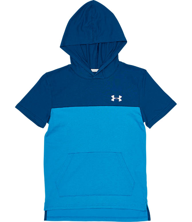 Front view of Boys' Under Armour Sportstyle Hoodie T-Shirt in Ether Blue/White