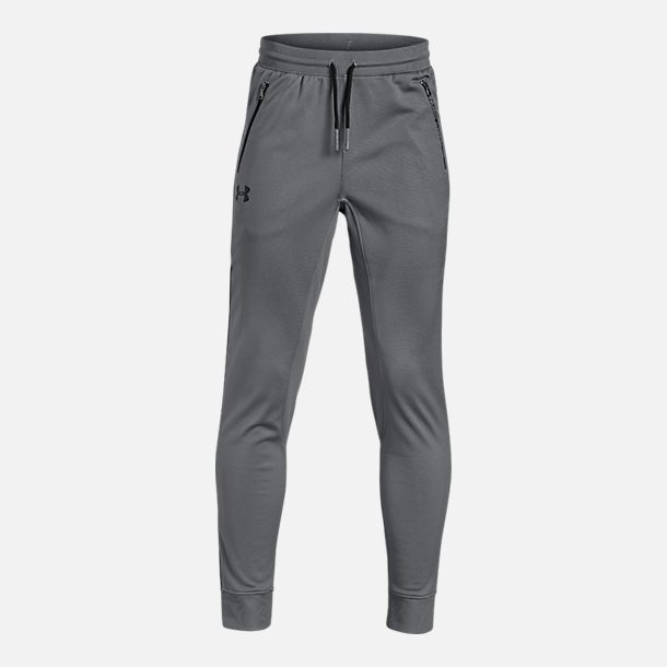 Front view of Boys' Under Armour Pennant Tapered Jogger Pants in Graphite
