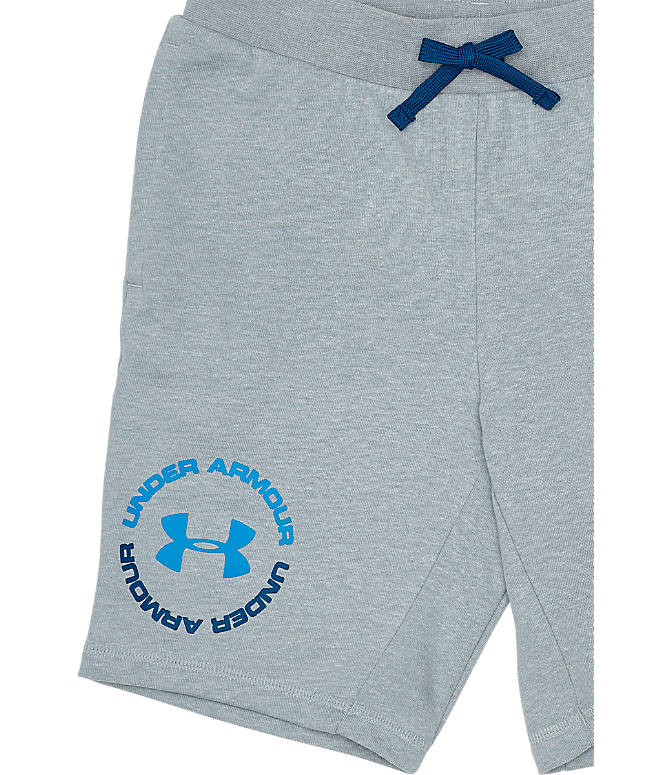 Back view of Boys' Under Armour Rival Terry Shorts in Mod Grey/Blue
