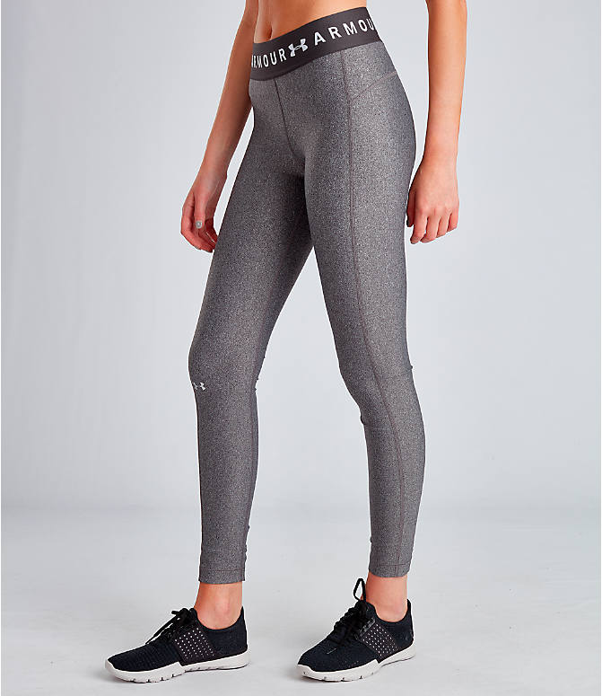 Front Three Quarter view of Women's Under Armour HeatGear Branded Leggings