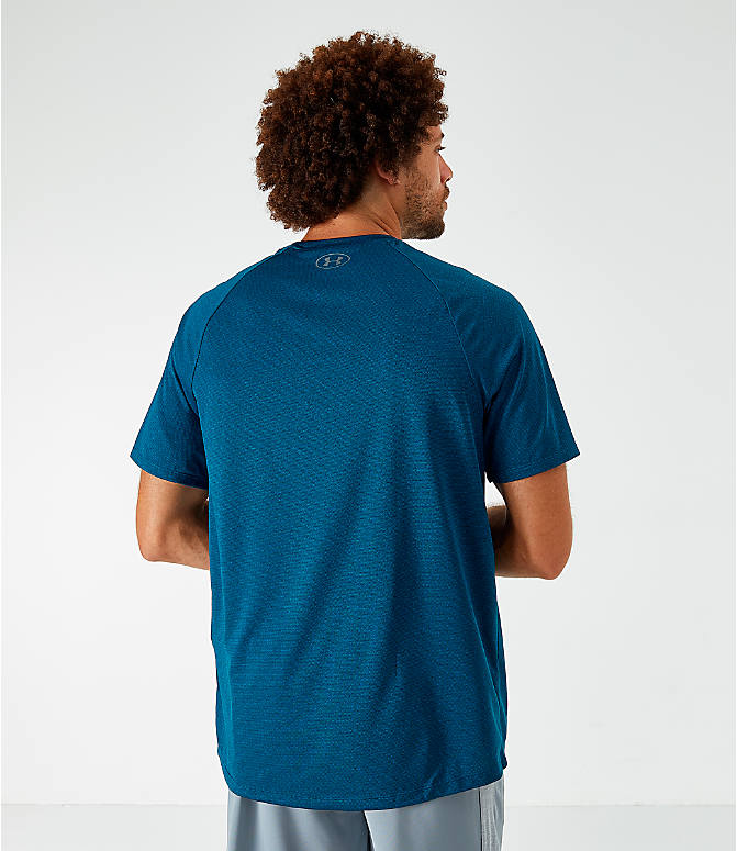 Back Left view of Men's Under Armour Tech T-Shirt in Blue