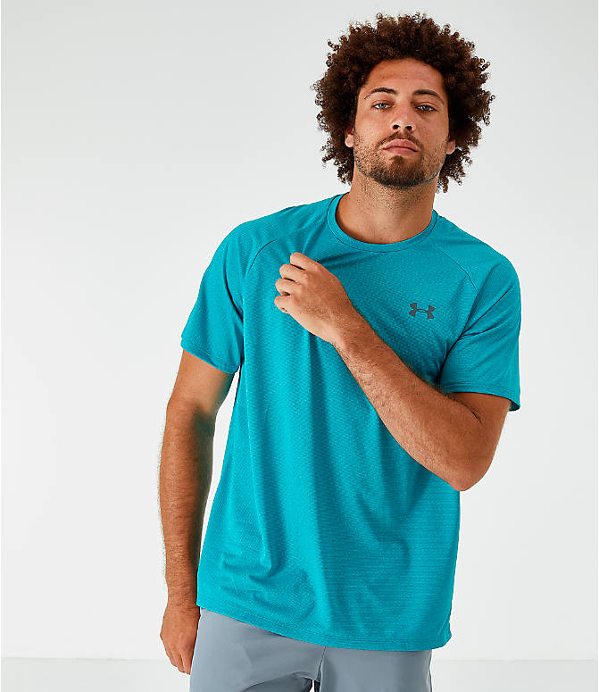 Front view of Men's Under Armour Tech T-Shirt in Teal Rush