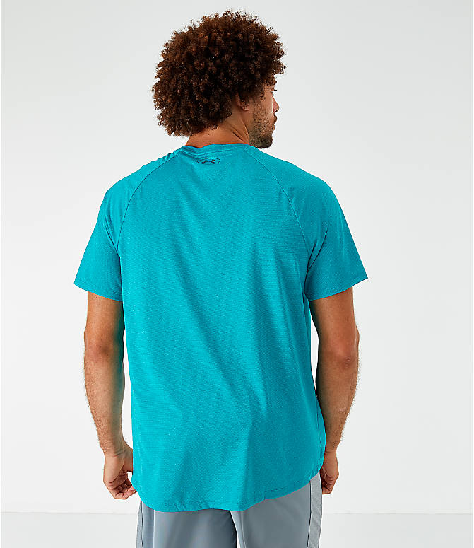 Back Left view of Men's Under Armour Tech T-Shirt in Teal Rush