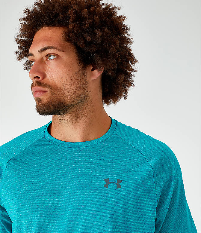 Back Right view of Men's Under Armour Tech T-Shirt in Teal Rush