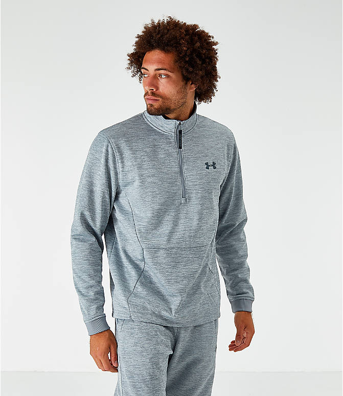Front view of Men's Under Armour Fleece Half-Zip Sweatshirt in Light Grey