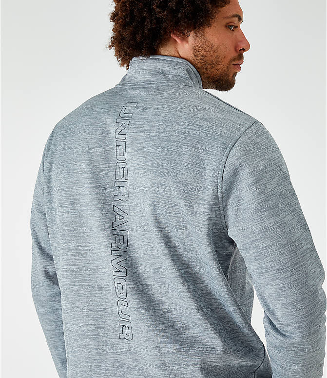 On Model 6 view of Men's Under Armour Fleece Half-Zip Sweatshirt in Light Grey